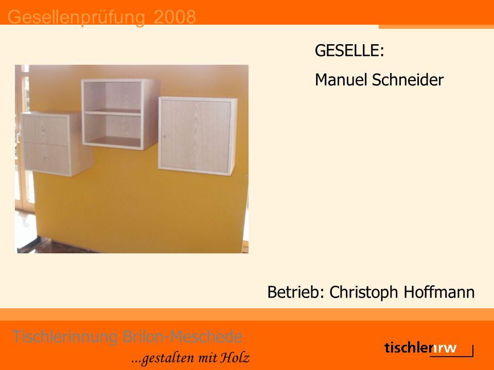 Gesellenprüfung 2008 Tischlerinnung Brilon-Meschede...gestalten mit Holz Betrieb: Christoph Hoffmann GESELLE: Manuel Schneider
