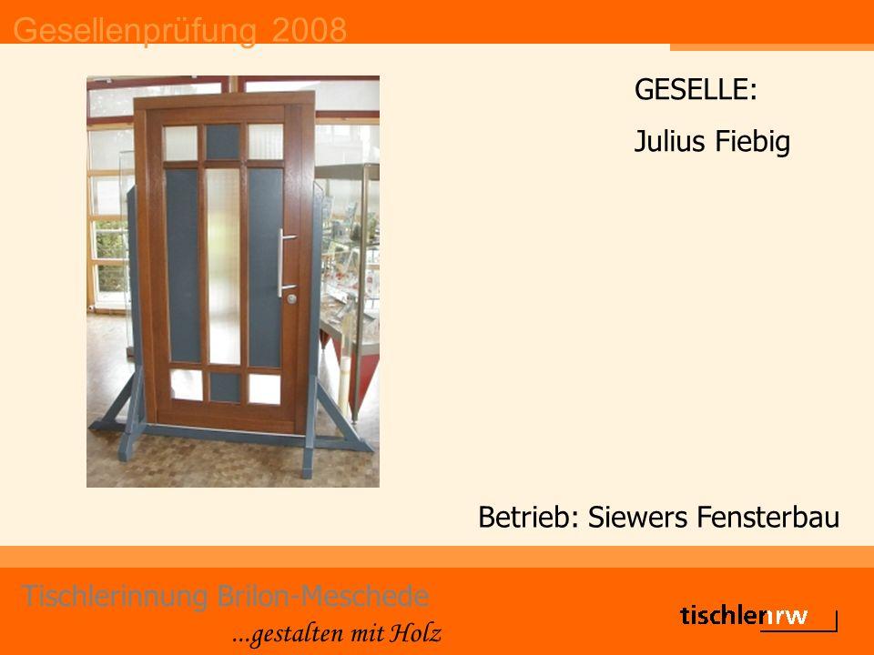 Gesellenprüfung 2008 Tischlerinnung Brilon-Meschede...gestalten mit Holz Betrieb: Siewers Fensterbau GESELLE: Julius Fiebig