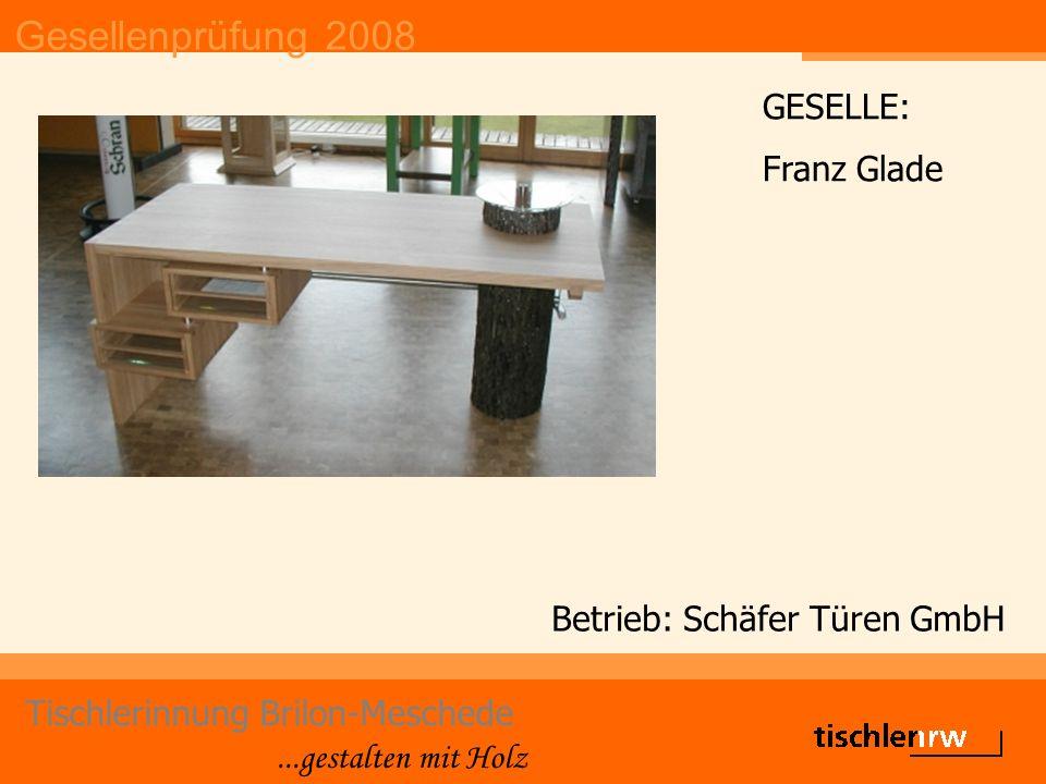 Gesellenprüfung 2008 Tischlerinnung Brilon-Meschede...gestalten mit Holz Betrieb: Schäfer Türen GmbH GESELLE: Franz Glade