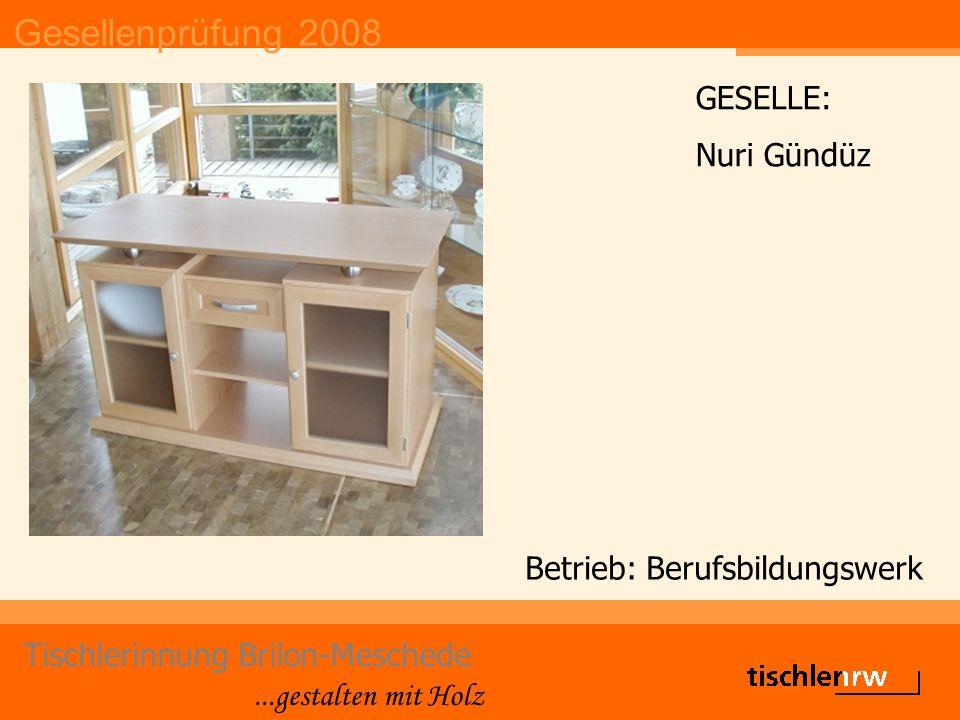 Gesellenprüfung 2008 Tischlerinnung Brilon-Meschede...gestalten mit Holz Betrieb: Gerlach GmbH & Co KG Martin Knecht DIE GUTE FORM Belobigung