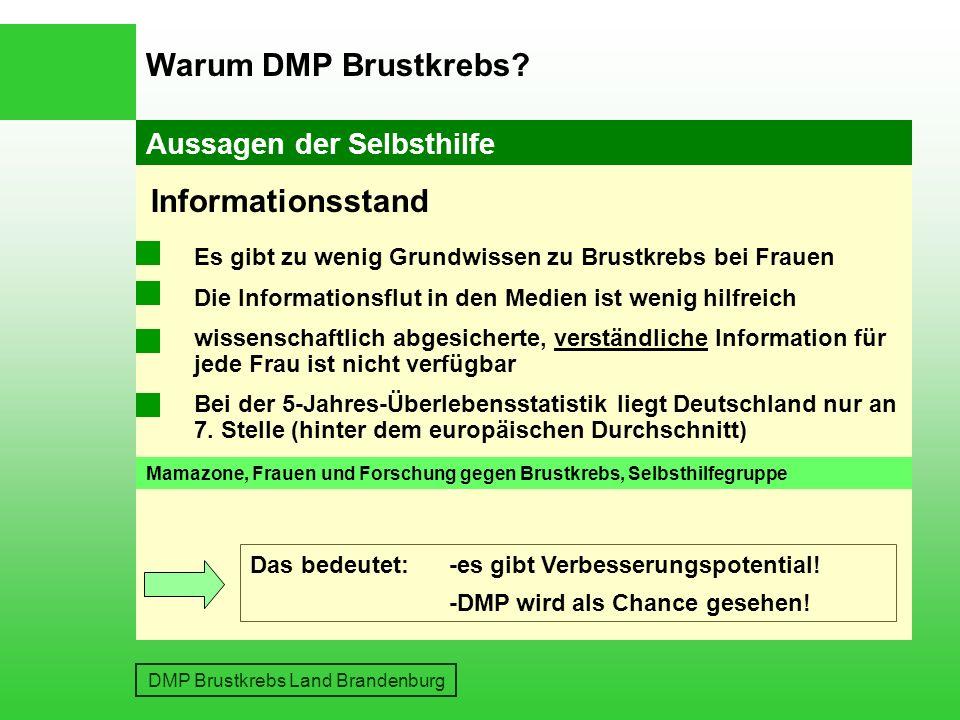 DMP Brustkrebs Land Brandenburg Aussagen von Ärzten Warum DMP Brustkrebs.