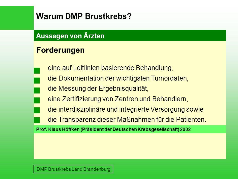 DMP Brustkrebs Land Brandenburg Gutachten des Sachverständigenrates Es folgte die Forderung nach einer leitliniengerechten und qualitativ hochwertigen therapeutischen Versorgung DMP Brustkrebs Warum DMP Brustkrebs.