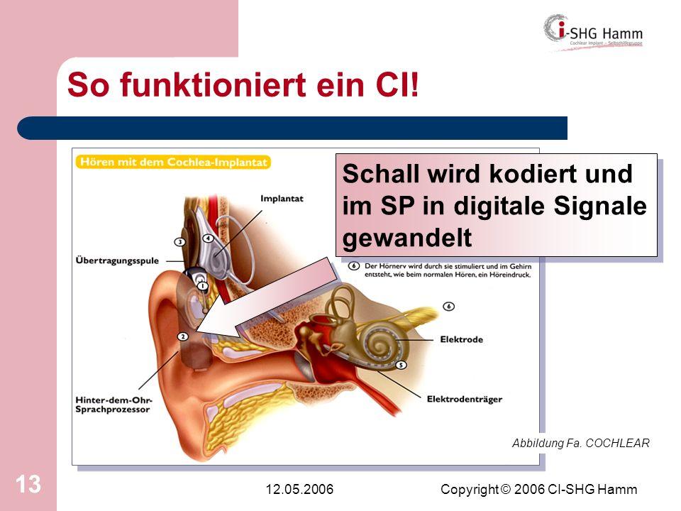 12.05.2006Copyright © 2006 CI-SHG Hamm 13 So funktioniert ein CI! Abbildung Fa. COCHLEAR Schall wird kodiert und im SP in digitale Signale gewandelt