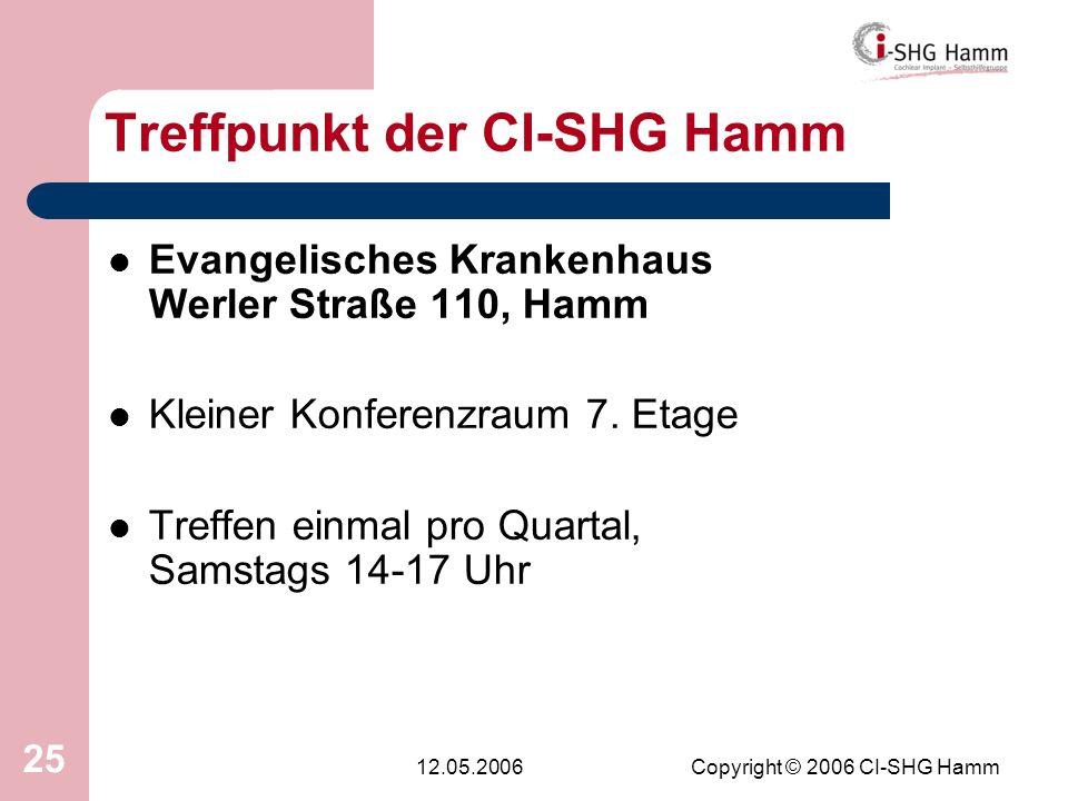 12.05.2006Copyright © 2006 CI-SHG Hamm 25 Treffpunkt der CI-SHG Hamm Evangelisches Krankenhaus Werler Straße 110, Hamm Kleiner Konferenzraum 7. Etage