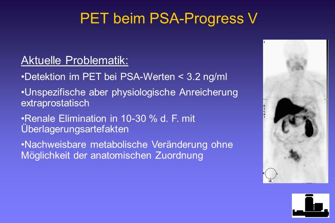 PET beim PSA-Progress V Aktuelle Problematik: Detektion im PET bei PSA-Werten < 3.2 ng/ml Unspezifische aber physiologische Anreicherung extraprostatisch Renale Elimination in 10-30 % d.