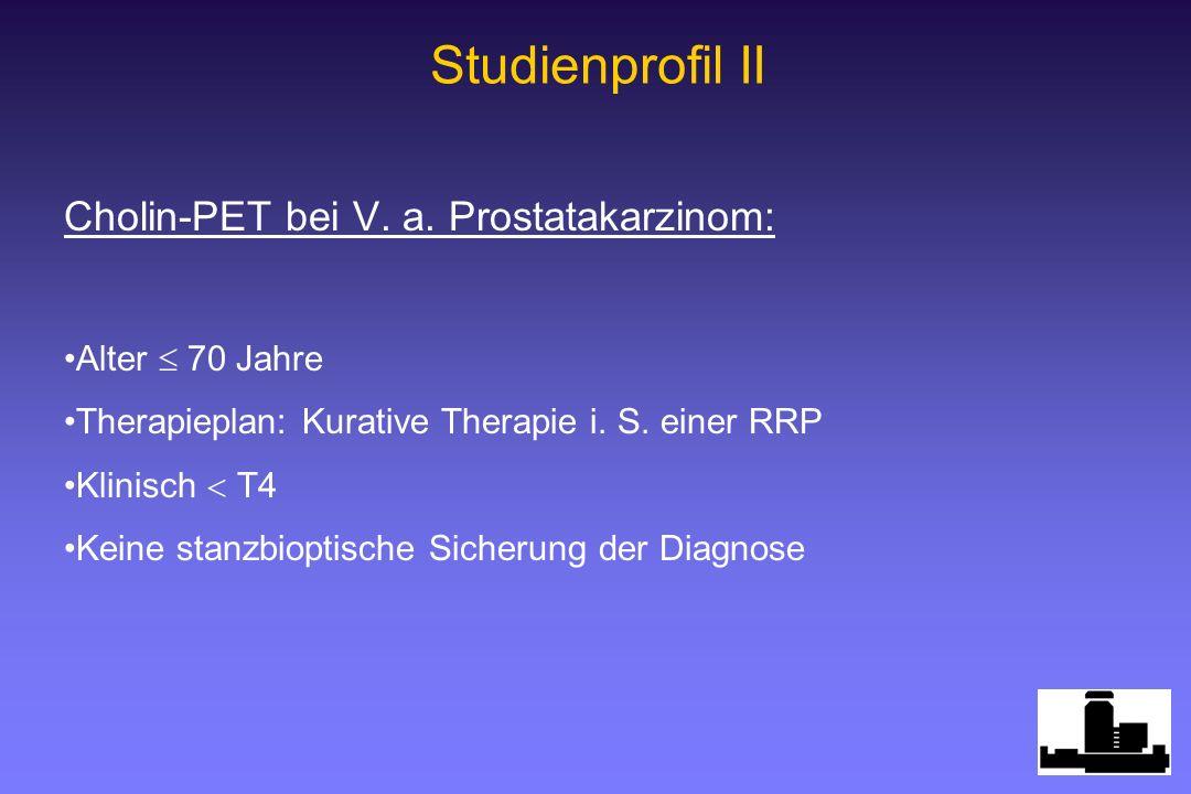 Cholin-PET bei V. a. Prostatakarzinom: Alter 70 Jahre Therapieplan: Kurative Therapie i. S. einer RRP Klinisch T4 Keine stanzbioptische Sicherung der
