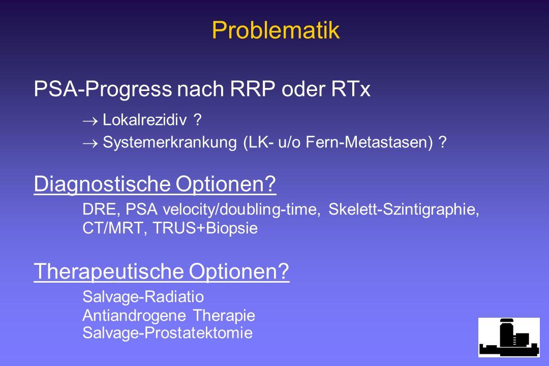 PSA-Progress nach RRP oder RTx Lokalrezidiv ? Systemerkrankung (LK- u/o Fern-Metastasen) ? Diagnostische Optionen? DRE, PSA velocity/doubling-time, Sk