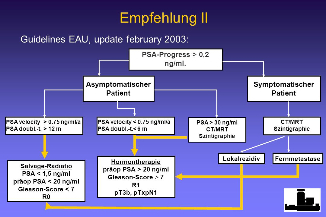 Guidelines EAU, update february 2003: Empfehlung II PSA-Progress > 0,2 ng/ml. Symptomatischer Patient PSA > 30 ng/ml CT/MRT Szintigraphie CT/MRT Szint