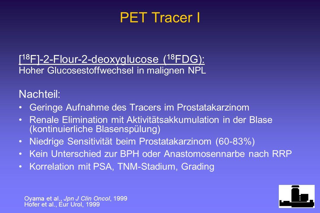 [ 18 F]-2-Flour-2-deoxyglucose ( 18 FDG): Hoher Glucosestoffwechsel in malignen NPL Nachteil: Geringe Aufnahme des Tracers im Prostatakarzinom Renale Elimination mit Aktivitätsakkumulation in der Blase (kontinuierliche Blasenspülung) Niedrige Sensitivität beim Prostatakarzinom (60-83%) Kein Unterschied zur BPH oder Anastomosennarbe nach RRP Korrelation mit PSA, TNM-Stadium, Grading PET Tracer I Oyama et al., Jpn J Clin Oncol, 1999 Hofer et al., Eur Urol, 1999