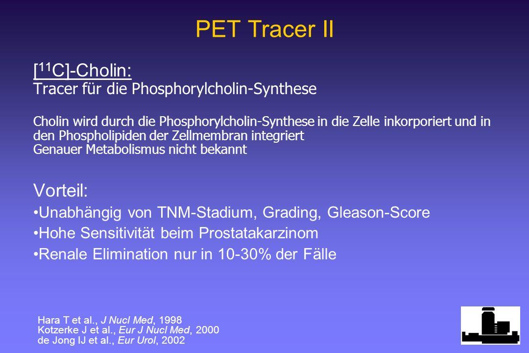 PET Tracer II [ 11 C]-Cholin: Tracer für die Phosphorylcholin-Synthese Cholin wird durch die Phosphorylcholin-Synthese in die Zelle inkorporiert und in den Phospholipiden der Zellmembran integriert Genauer Metabolismus nicht bekannt Vorteil: Unabhängig von TNM-Stadium, Grading, Gleason-Score Hohe Sensitivität beim Prostatakarzinom Renale Elimination nur in 10-30% der Fälle Hara T et al., J Nucl Med, 1998 Kotzerke J et al., Eur J Nucl Med, 2000 de Jong IJ et al., Eur Urol, 2002