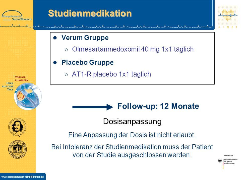 www.kompetenznetz-vorhofflimmern.de Studienmedikation Verum Gruppe Olmesartanmedoxomil 40 mg 1x1 täglich Placebo Gruppe AT1-R placebo 1x1 täglich Dosisanpassung Eine Anpassung der Dosis ist nicht erlaubt.