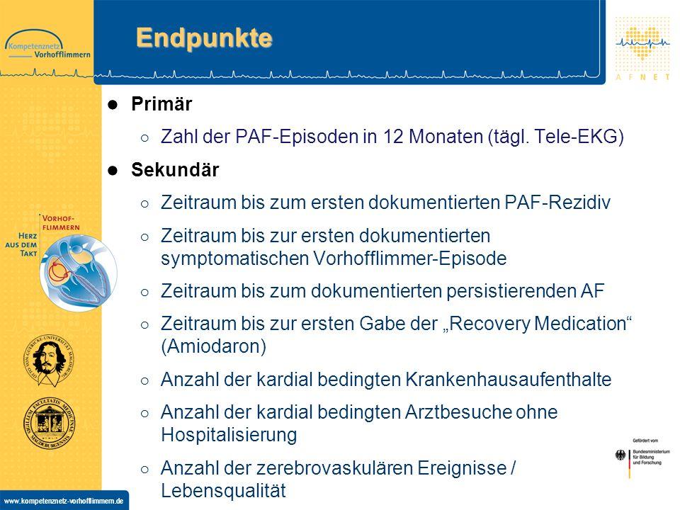 www.kompetenznetz-vorhofflimmern.de Endpunkte Primär Zahl der PAF-Episoden in 12 Monaten (tägl.