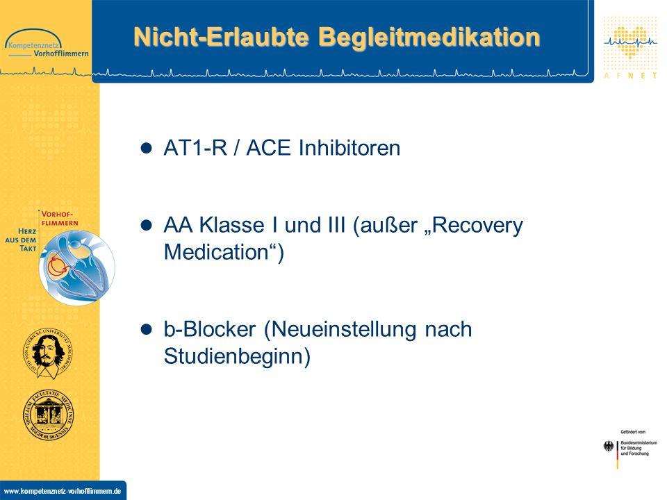 www.kompetenznetz-vorhofflimmern.de Nicht-Erlaubte Begleitmedikation AT1-R / ACE Inhibitoren AA Klasse I und III (außer Recovery Medication) b-Blocker (Neueinstellung nach Studienbeginn)