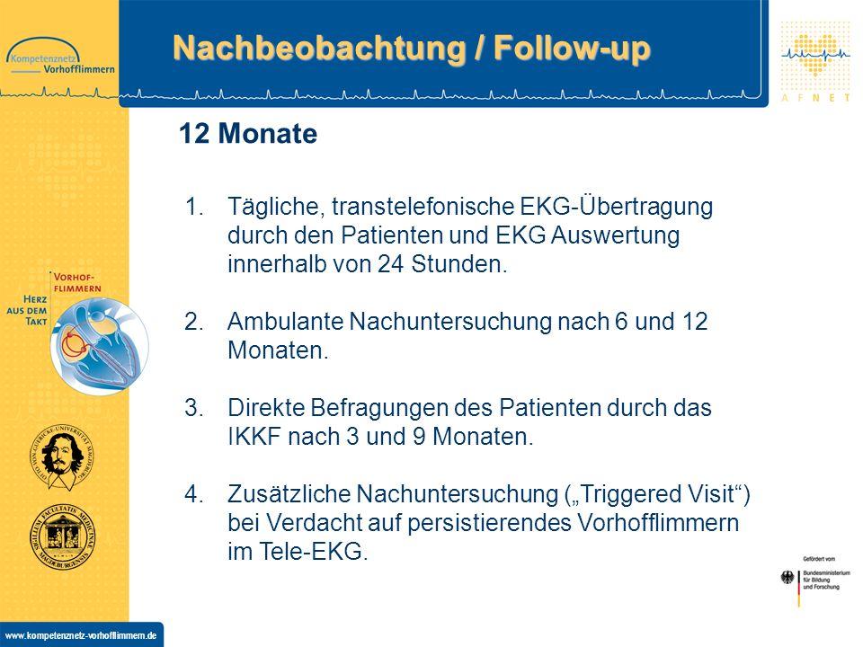 www.kompetenznetz-vorhofflimmern.de Nachbeobachtung / Follow-up 1.Tägliche, transtelefonische EKG-Übertragung durch den Patienten und EKG Auswertung innerhalb von 24 Stunden.