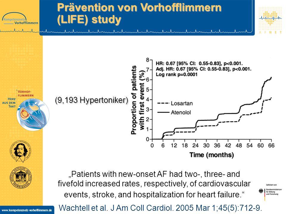 www.kompetenznetz-vorhofflimmern.de Stop H2 CAPP TRACE Val-HeFT post Ablation LIFE US HTN cohort CHARMSOLVD post DC Prävention von AF durch ACE/AT1 Inhibitoren (Retrospektive Analysen)