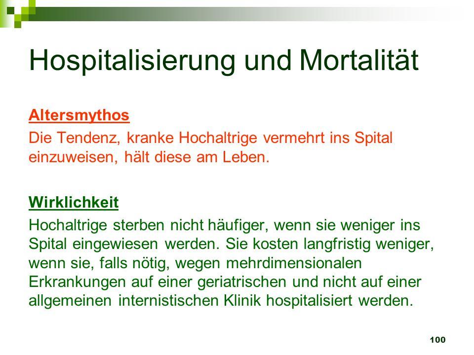 100 Hospitalisierung und Mortalität Altersmythos Die Tendenz, kranke Hochaltrige vermehrt ins Spital einzuweisen, hält diese am Leben. Wirklichkeit Ho