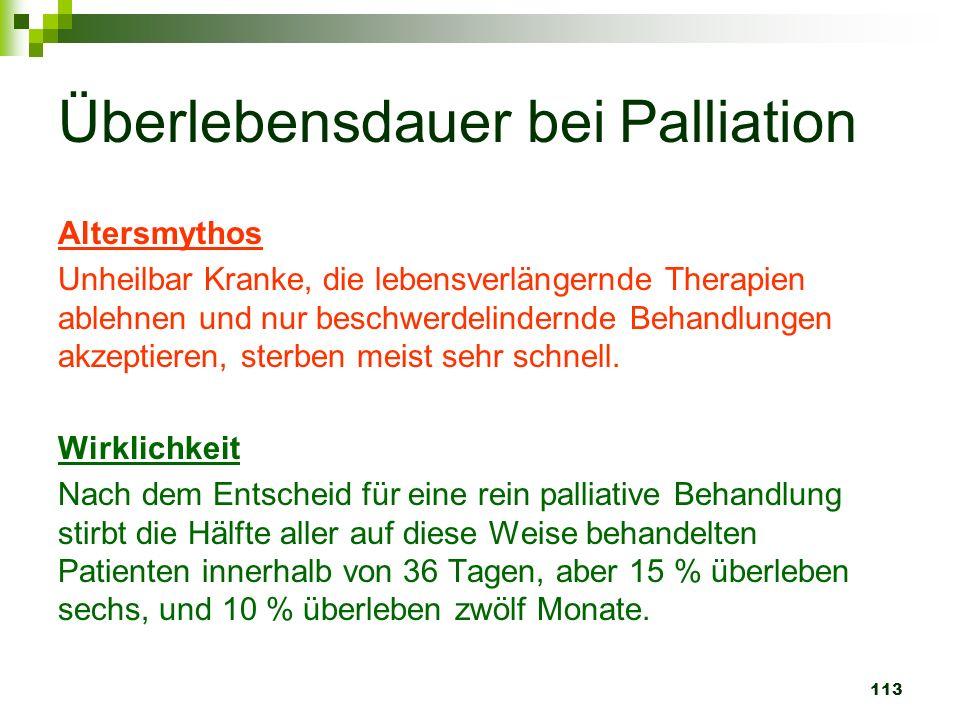 113 Überlebensdauer bei Palliation Altersmythos Unheilbar Kranke, die lebensverlängernde Therapien ablehnen und nur beschwerdelindernde Behandlungen a