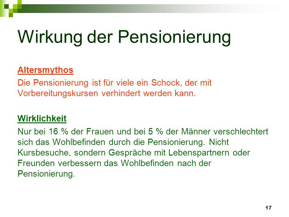 17 Wirkung der Pensionierung Altersmythos Die Pensionierung ist für viele ein Schock, der mit Vorbereitungskursen verhindert werden kann. Wirklichkeit