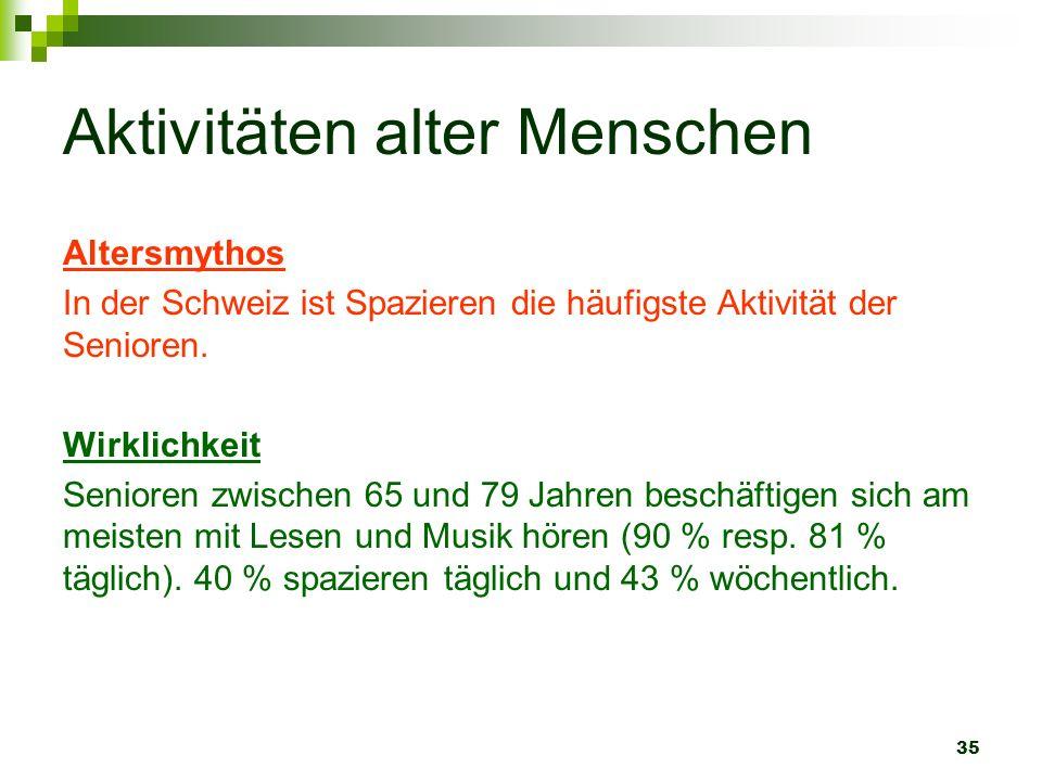 35 Aktivitäten alter Menschen Altersmythos In der Schweiz ist Spazieren die häufigste Aktivität der Senioren. Wirklichkeit Senioren zwischen 65 und 79