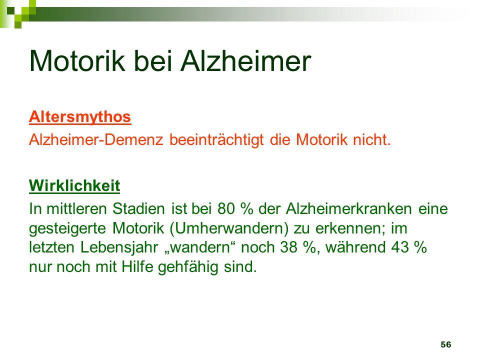 56 Motorik bei Alzheimer Altersmythos Alzheimer-Demenz beeinträchtigt die Motorik nicht. Wirklichkeit In mittleren Stadien ist bei 80 % der Alzheimerk