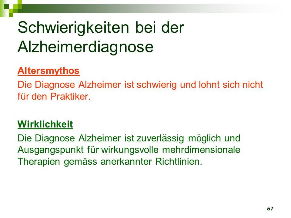 57 Schwierigkeiten bei der Alzheimerdiagnose Altersmythos Die Diagnose Alzheimer ist schwierig und lohnt sich nicht für den Praktiker. Wirklichkeit Di