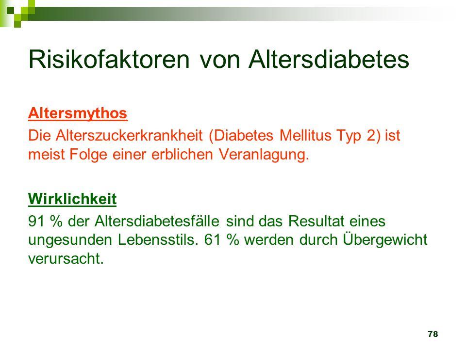 78 Risikofaktoren von Altersdiabetes Altersmythos Die Alterszuckerkrankheit (Diabetes Mellitus Typ 2) ist meist Folge einer erblichen Veranlagung. Wir