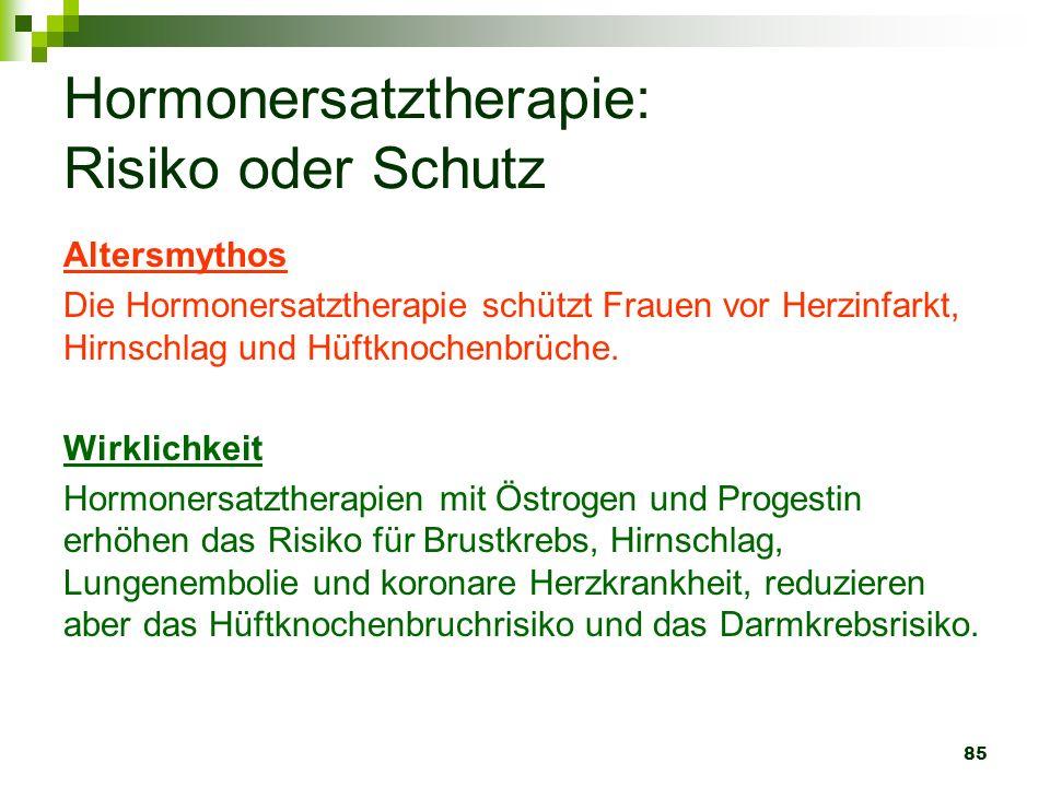 85 Hormonersatztherapie: Risiko oder Schutz Altersmythos Die Hormonersatztherapie schützt Frauen vor Herzinfarkt, Hirnschlag und Hüftknochenbrüche. Wi