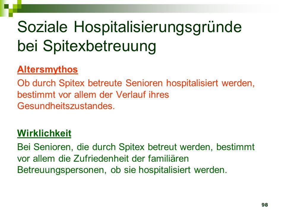 98 Soziale Hospitalisierungsgründe bei Spitexbetreuung Altersmythos Ob durch Spitex betreute Senioren hospitalisiert werden, bestimmt vor allem der Ve