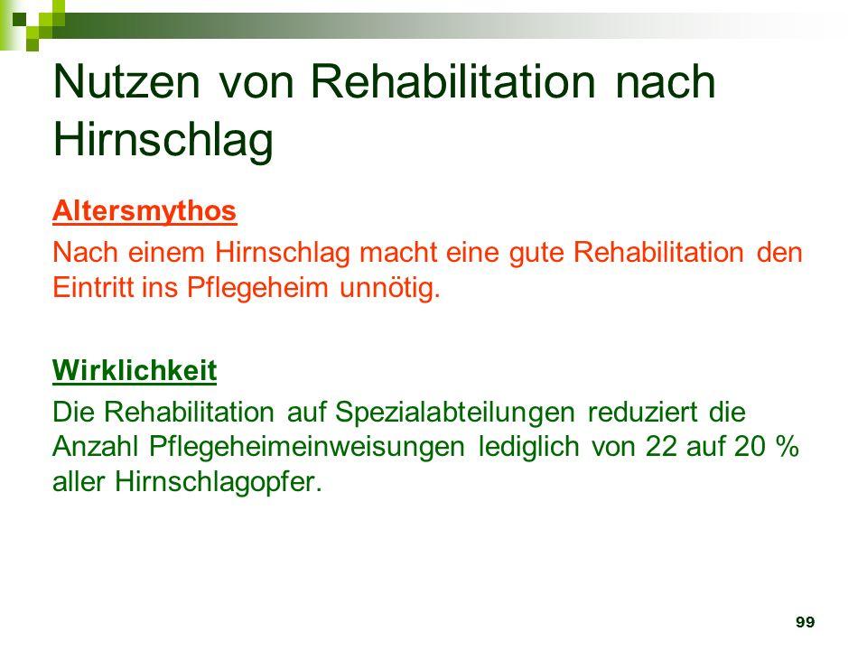 99 Nutzen von Rehabilitation nach Hirnschlag Altersmythos Nach einem Hirnschlag macht eine gute Rehabilitation den Eintritt ins Pflegeheim unnötig. Wi