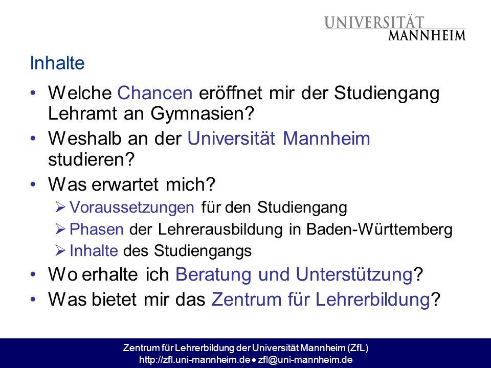 Zentrum für Lehrerbildung der Universität Mannheim (ZfL) http://zfl.uni-mannheim.de zfl@uni-mannheim.de Welche Chancen eröffnet mir der Studiengang.