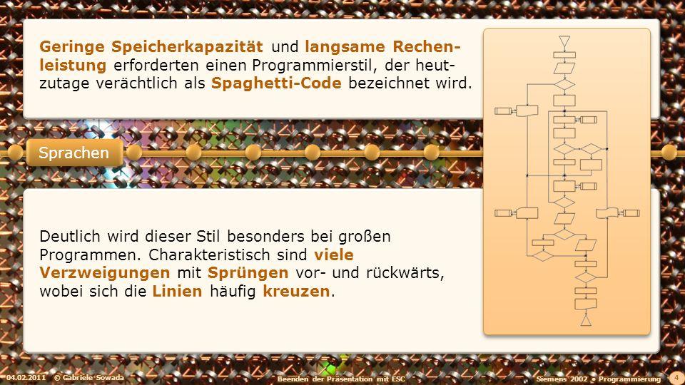 04.02.2011© Gabriele Sowada 4 Sprachen Deutlich wird dieser Stil besonders bei großen Programmen.