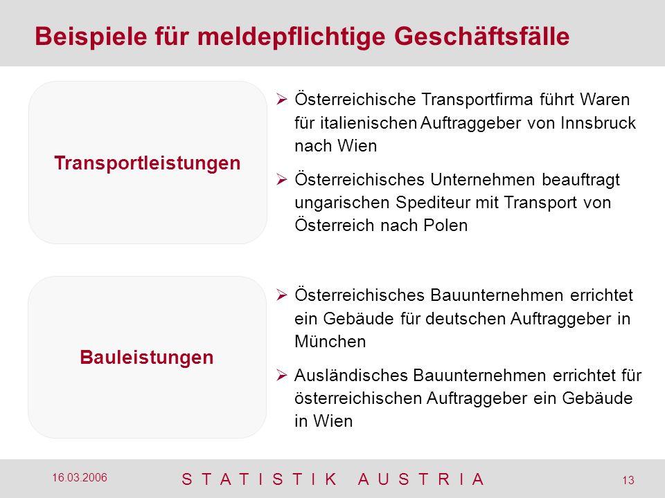 S T A T I S T I K A U S T R I A 13 16.03.2006 Beispiele für meldepflichtige Geschäftsfälle Österreichische Transportfirma führt Waren für italienische