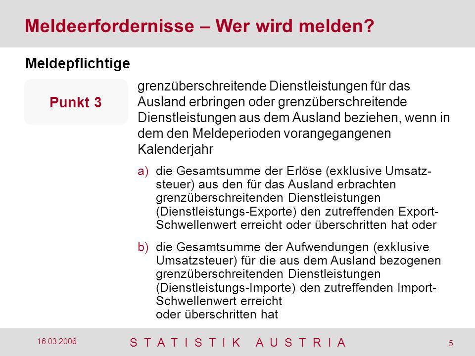 S T A T I S T I K A U S T R I A 5 16.03.2006 Meldeerfordernisse – Wer wird melden? Meldepflichtige grenzüberschreitende Dienstleistungen für das Ausla