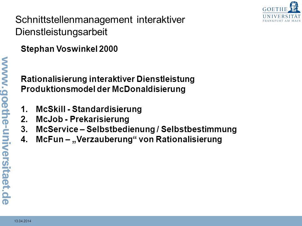 13.04.2014 Schnittstellenmanagement interaktiver Dienstleistungsarbeit Stephan Voswinkel 2000 Rationalisierung interaktiver Dienstleistung Produktions