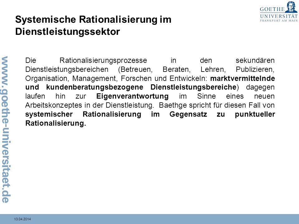 13.04.2014 Systemische Rationalisierung im Dienstleistungssektor Die Rationalisierungsprozesse in den sekundären Dienstleistungsbereichen (Betreuen, B