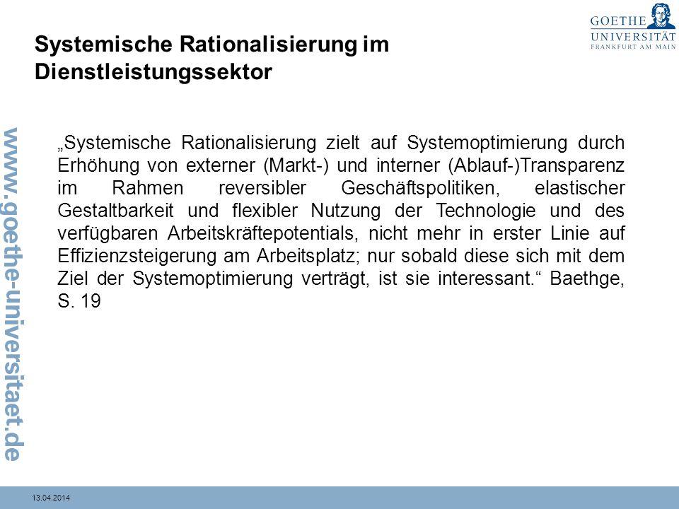 13.04.2014 Systemische Rationalisierung im Dienstleistungssektor Systemische Rationalisierung zielt auf Systemoptimierung durch Erhöhung von externer