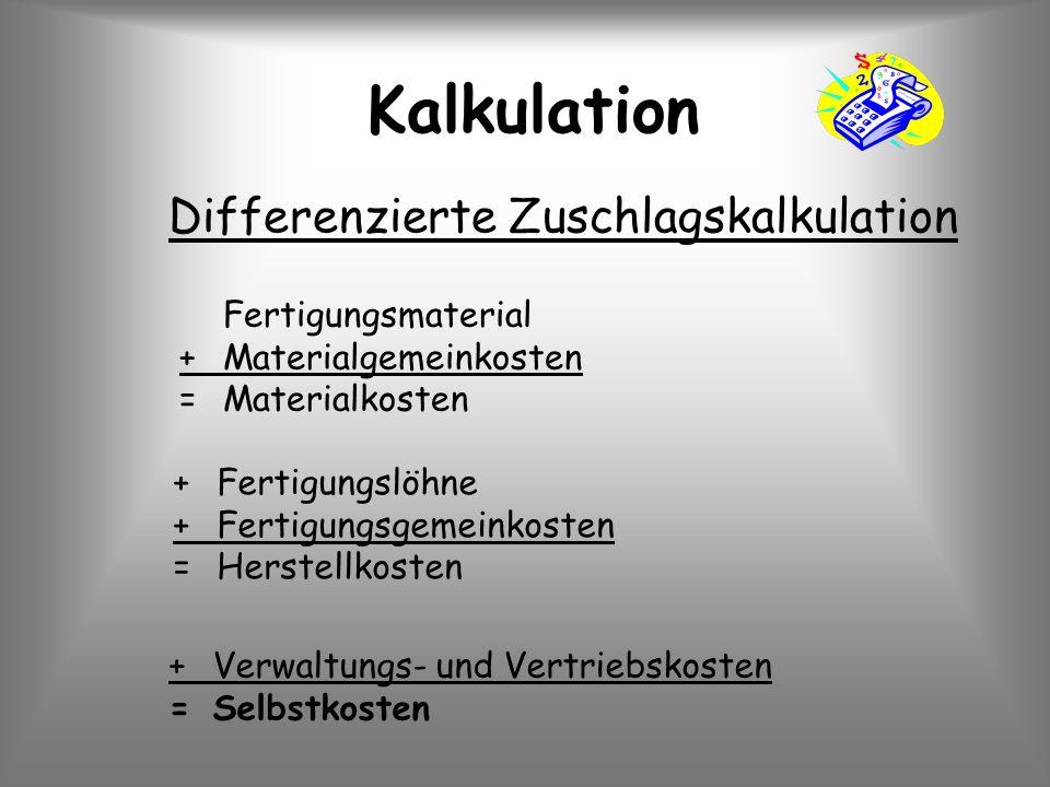Kalkulation Differenzierte Zuschlagskalkulation +Verwaltungs- und Vertriebskosten =Selbstkosten Fertigungsmaterial +Materialgemeinkosten =Materialkost