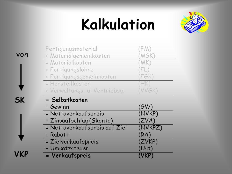 Kalkulation Fertigungsmaterial(FM) + Materialgemeinkosten(MGK) = Materialkosten(MK) + Fertigungslöhne(FL) + Fertigungsgemeinkosten(FGK) = Herstellkost