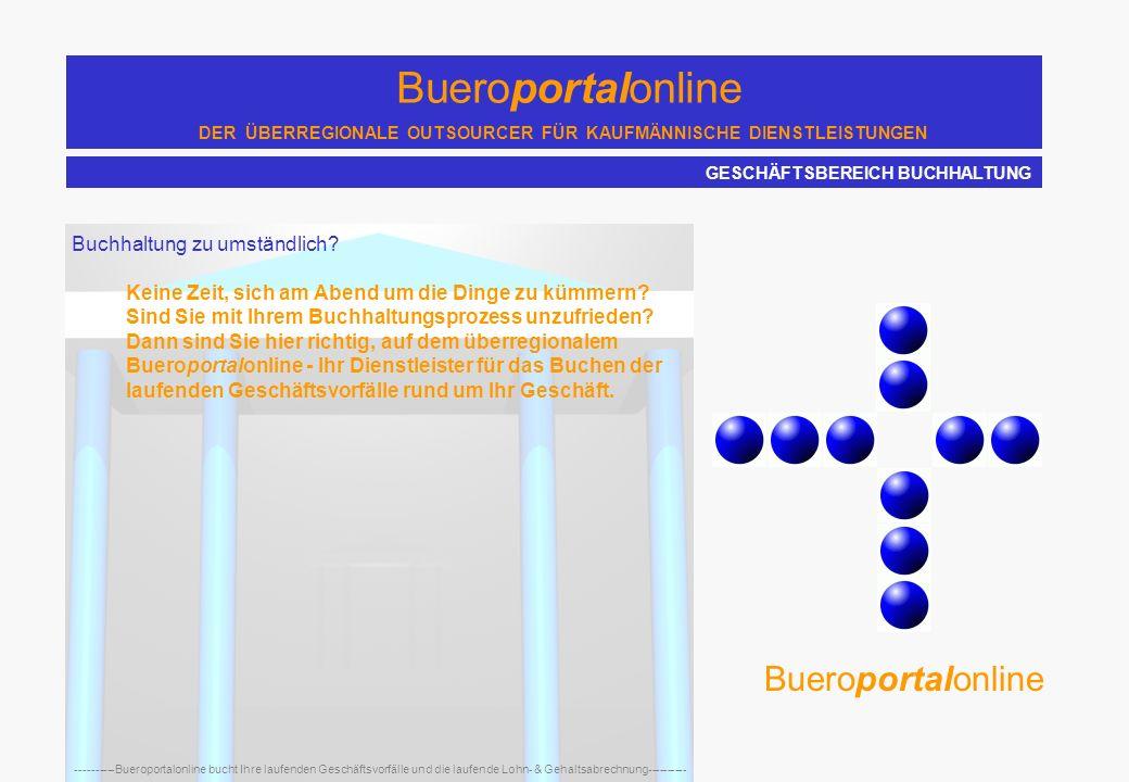 Bueroportalonline DER ÜBERREGIONALE OUTSOURCER FÜR KAUFMÄNNISCHE DIENSTLEISTUNGEN ----------Bueroportalonline bucht Ihre laufenden Geschäftsvorfälle und die laufende Lohn- & Gehaltsabrechnung---------- Bueroportalonline ist ein moderner Dienstleister und hat sich als Outsourcer darauf spezialisiert, Sie von weitestgehend allen kaufmännischen Tätigkeiten zu entlasten.