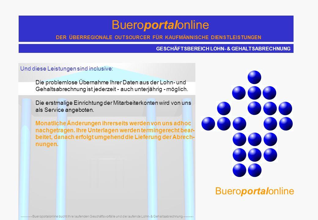 Bueroportalonline DER ÜBERREGIONALE OUTSOURCER FÜR KAUFMÄNNISCHE DIENSTLEISTUNGEN ----------Bueroportalonline bucht Ihre laufenden Geschäftsvorfälle u