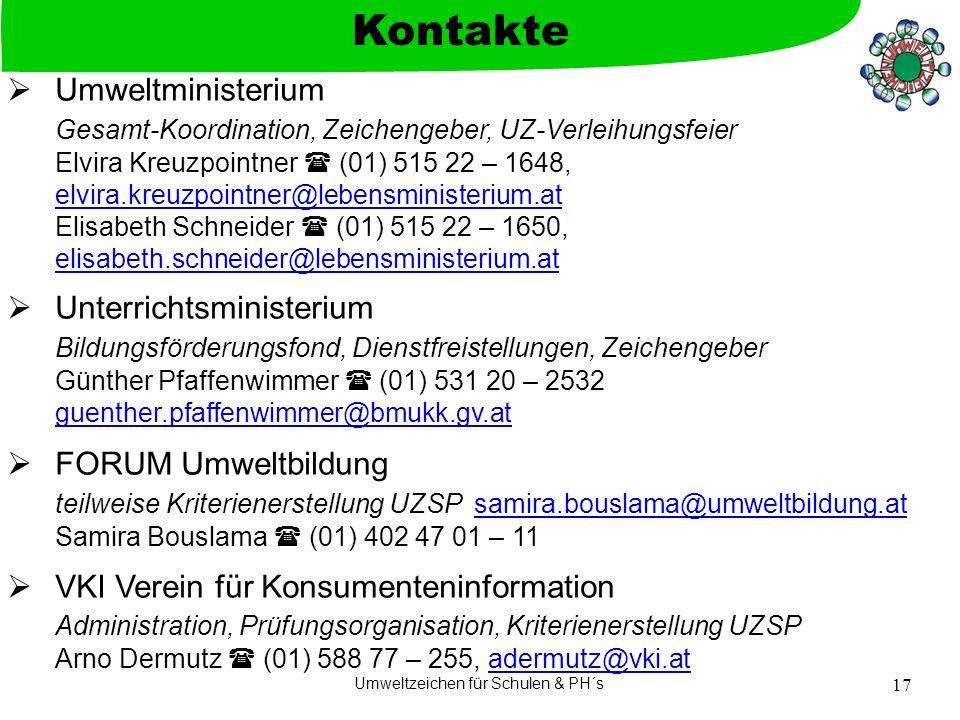 Umweltzeichen für Schulen & PH´s 17 Umweltministerium Gesamt-Koordination, Zeichengeber, UZ-Verleihungsfeier Elvira Kreuzpointner (01) 515 22 – 1648,