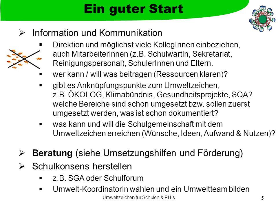 Umweltzeichen für Schulen & PH´s 5 Information und Kommunikation Direktion und möglichst viele KollegInnen einbeziehen, auch MitarbeiterInnen (z.B. Sc