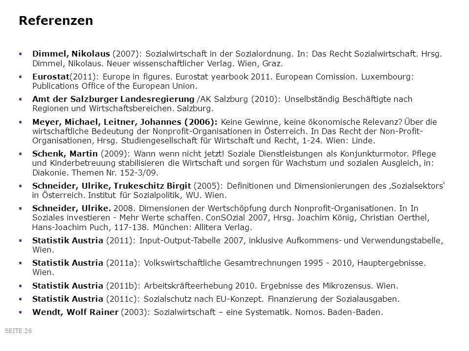 Referenzen Dimmel, Nikolaus (2007): Sozialwirtschaft in der Sozialordnung. In: Das Recht Sozialwirtschaft. Hrsg. Dimmel, Nikolaus. Neuer wissenschaftl