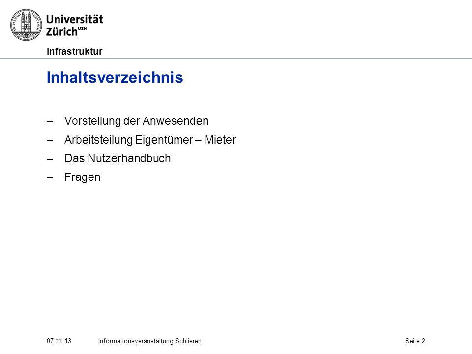 Infrastruktur 07.11.13Informationsveranstaltung SchlierenSeite 2 Inhaltsverzeichnis –Vorstellung der Anwesenden –Arbeitsteilung Eigentümer – Mieter –D
