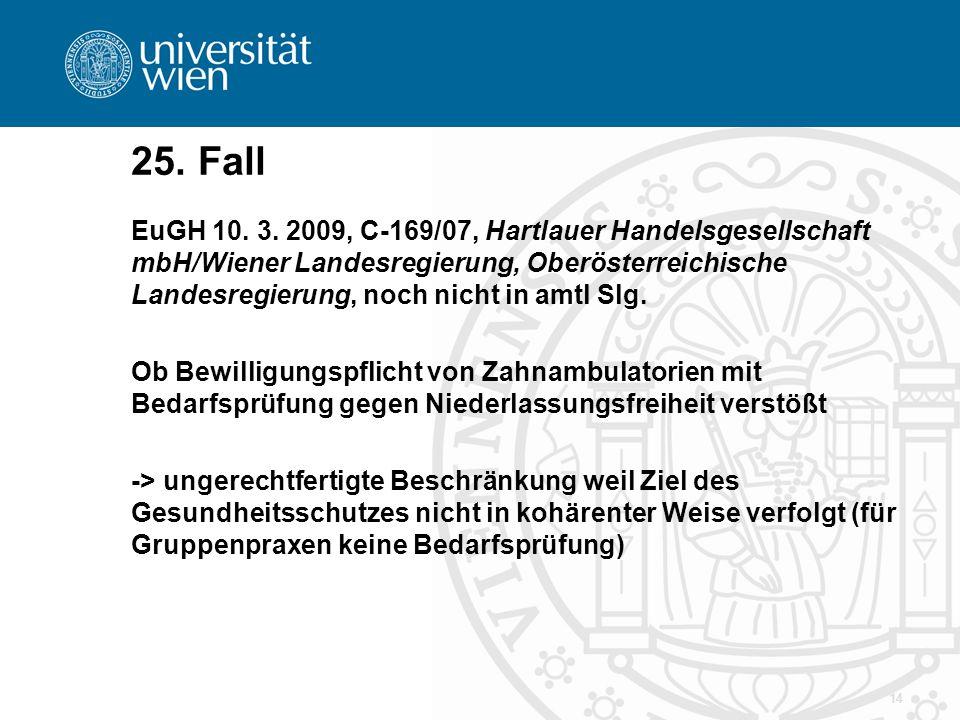 14 25. Fall EuGH 10. 3. 2009, C-169/07, Hartlauer Handelsgesellschaft mbH/Wiener Landesregierung, Oberösterreichische Landesregierung, noch nicht in a