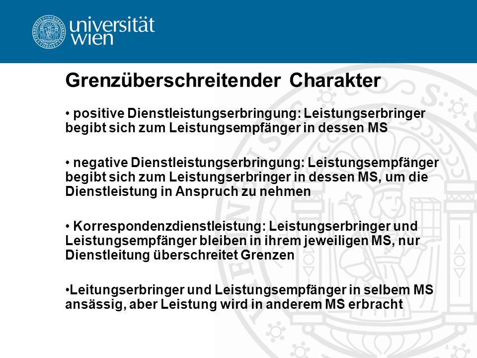 4 Grenzüberschreitender Charakter positive Dienstleistungserbringung: Leistungserbringer begibt sich zum Leistungsempfänger in dessen MS negative Dien