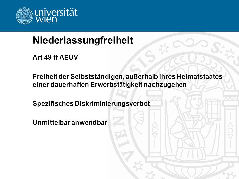 9 Niederlassungfreiheit Art 49 ff AEUV Freiheit der Selbstständigen, außerhalb ihres Heimatstaates einer dauerhaften Erwerbstätigkeit nachzugehen Spez