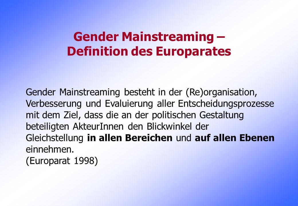 Gender Mainstreaming – Definition des Europarates Gender Mainstreaming besteht in der (Re)organisation, Verbesserung und Evaluierung aller Entscheidun