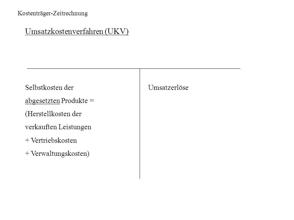 Kostenträger-Zeitrechnung Umsatzkostenverfahren (UKV) Selbstkosten der Umsatzerlöse abgesetzten Produkte = (Herstellkosten der verkauften Leistungen +