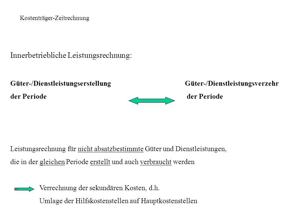 Kostenträger-Zeitrechnung Bestandsrechnung für erstellte, aber nicht abgesetzte Güter und Dienstleistungen Wert- und mengenmäßige Erfassung (idR.